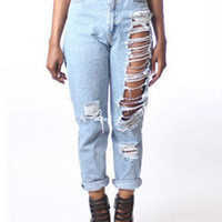 Blue High Waist Frayed Straight Jeans