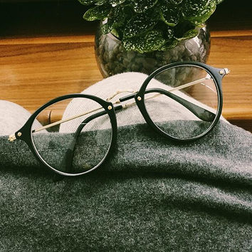 Vintage Clear Lens Round Glasses for Women Men Gift