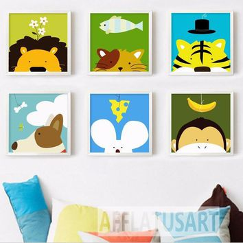 Nursery art / decor - Canvas painting / Poster print - Free Shipping - Modern Cartoon Animals