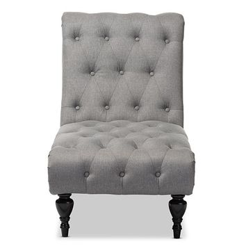 Baxton Studio Layla Mid-century Retro Modern Grey Fabric Upholstered Button-tufted Chaise Lounge Set of 1