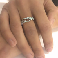 1.00 carats Infinity Knot Ring Natural Diamond Wedding Band 14k White Gold
