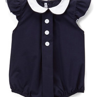 Navy Angel-Sleeve Bubble Romper - Infant