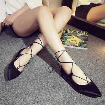 Summer Leopard Cross Strap Flat Pointed Toe Shoes [4919952836]