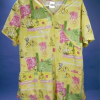 Women's Disney Scrub Top Lady and The Tramp Short Sleeve Large