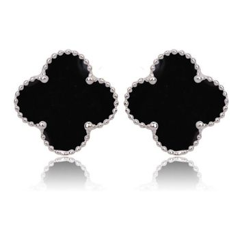 Beady Cleef Single Stud - Silver & Black