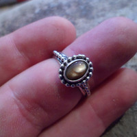 Authentic Navajo,Native American,Southwestern sterling silver beaded mother of pearl ring.Size 8.
