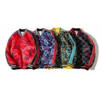 Gucci ghost print bomber jacket