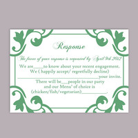 DIY Wedding RSVP Template Editable Word File Instant Download Rsvp Template Printable RSVP Cards Mint Green Rsvp Card Elegant Rsvp Card