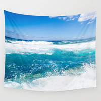Ocean waves Wall Tapestry, tropical wall tapestry, blue turquoise decor wave sea wall hanging decor, grommets, 26x36, 50x59, 88x104 Inches