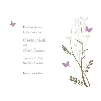 Romantic Butterfly Save The Date Card Vintage Pink (Pack of 1)