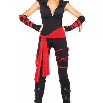 Sexy Black Red Deadly Ninja 5 Pc. Costume