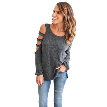 Fashion Women shirtSexy Black Long Sleeve Round Collar Hollow Casual Loose for Girl Ladies Street Style#LSN
