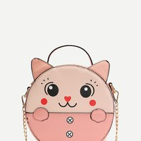 Cartoon Print Ear Shaped Chain Bag