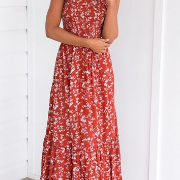 ONETOW Fashion Floral Print Halter Sleeveless Hollow Backless Maxi Dress