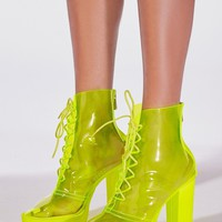 Lime Crime Clear Booties Neon Yellow