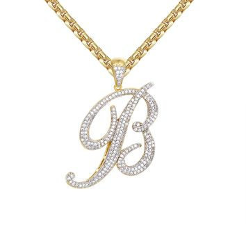 14k Gold Finish Iced Out Cursive Initial B Letter Pendant Chain