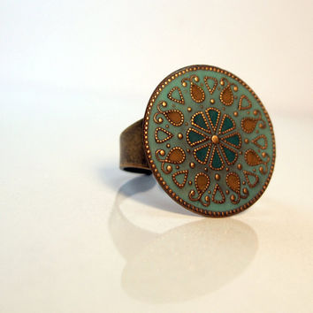 Oriental Mandala Ring with a mexican flavor in turquise and ocre