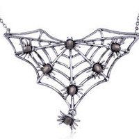 Gunmetal Tone Halloween Spider Insect Bug Family Web Crawl Collar Fun Necklace