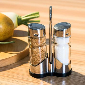 2Pcs/set Glass Spice Jar Seasoning Box Salt Sugar Pepper Bottles Container with Holder Portable Kitchen Cooking Tool