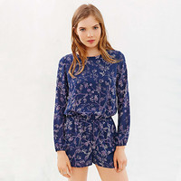 Blue Plant Print Open Back Long Sleeve Romper