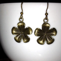 SALE: Bronze Flower Charm Earrings