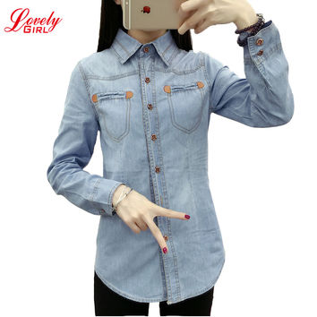 Single Breasted Long Sleeve Vintage Denim Shirts For Women 2017 New Arrivals Korean Style Camisa Blusa Camisetas Femininas