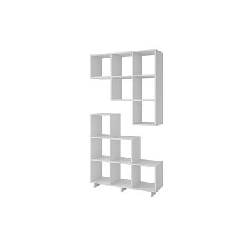 2-26AMC6 Cascavel Stair Cubby with 6 Cube Shelves in White. Set of 2