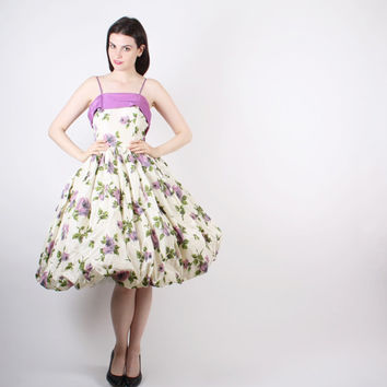 50s Purple Rose Party Dress - 1950s Floral Wedding Dress - 50s Floral Dress - The  Angel Face Dress  - 5138
