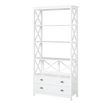 Country - Shelf with 4 floors and 2 drawers, metal handles, white lacquered, country style