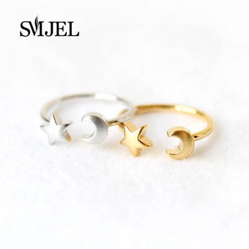 SMJEL 2017 New Fashion Silver Color  Adjustable Crescent Moon and Tiny Star Rings for Women R161