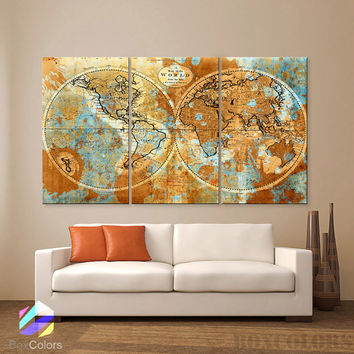"""LARGE 30""""x 60"""" 3 Panels Art Canvas Print Original world Map Watercolor Old Vintage Rustic Wall decor Home Office interior(framed 1.5"""" depth)"""
