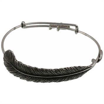 Alex and Ani Plume Feather Expandable Wire Bangle Russian Silver
