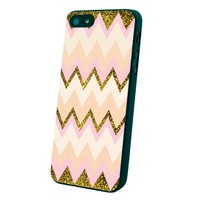 Gold Pink Chevron Galaxy Custom Case for Iphone 5/5s/6/6 Plus (Black iPhone 5/5s)