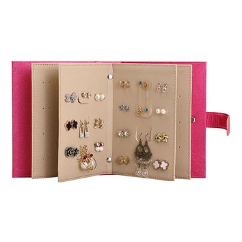 PU Leather Portable Fashion Women Stud Earrings Collection Necklace Jewelry Book Storage Bag Display Box Organizer Accessories