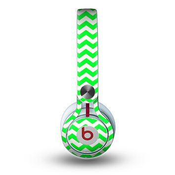 The Green & White Chevron Pattern Skin for the Beats by Dre Mixr Headphones