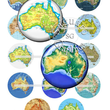 Australia Maps & Vintage Maps Art - Digital Collage Sheets - 1.0 inch Circles for Jewelry Makers, Party Favors, Crafts Projects