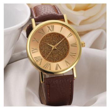Women Fashion Brown PU Leather Analog Glitter Dial Clock Wristwatch
