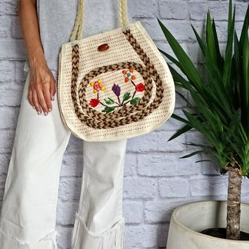 Vintage 1970s Woven + Mixed Media Tote Bag