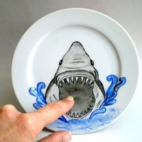 Whimsy  Shark Attack  Side Plate,  3D Originally Hand Painted, humor  unisex gift for  dudes -MADE TO ORDER