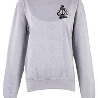 Harry Potter Hogwarts Logo master of death triangle crew neck shirt unisex women | eBay