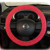 by (CoverWheel) Steering wheel cover for wheel car accessories Red Polka Dot