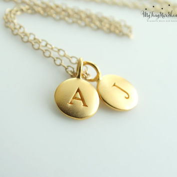 Gold Initial Necklace Jewelry 24k Gold Initial charm Necklace Gold Pendant Necklace Mother's Necklace  Personalized Necklace Charm