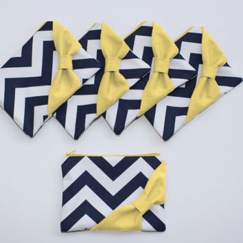 Bridesmaid Gift Set / Bachelorette Favors - Navy Chevron Yellow Bow - Customizable Wedding Cosmetic Cases - Choose Quantity and Bow Style