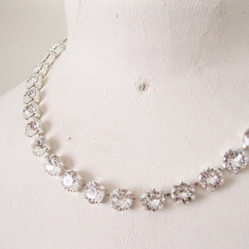 Crystal Clear Rhinestone Statement Necklace, Vintage Style Choker, Wedding Jewelry, Bridal Rhinestone Collar, Silver Plated Tennis Necklace