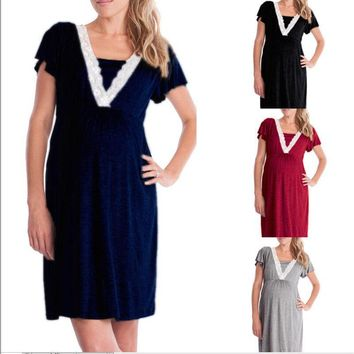 Pregnant Clothes Women Maternity Summer Casual Dress O-Neck Lace Solid A-Line Knee-Length Dress 4 Style