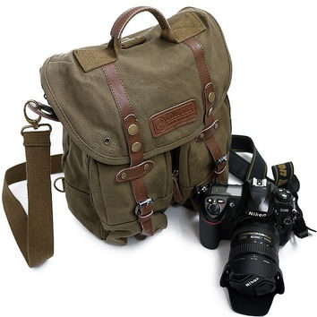 Safari Canvas Camera Bag Canvas Hand Crafted Canvas DSLR Bag Cowhide Backpack F1006 Green
