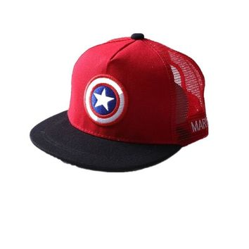 Trendy Winter Jacket ALLKPOPER Summer Childrens  Baseball Cap Boys&Girls Cartoon Captain America Snapback Adjustable Kids Hip Hop Hat Sun Mesh Cap AT_92_12