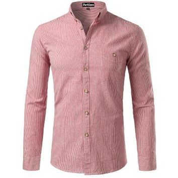 Striped cotton short sleeve men button down shirt