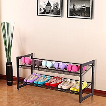 SONGMICS 2-Tier Stackable Metal Shoe Rack Flat & Slant Adjustable Shoe Organizer Shelf for Closet Bedroom & Entryway Bronze ULMR02A