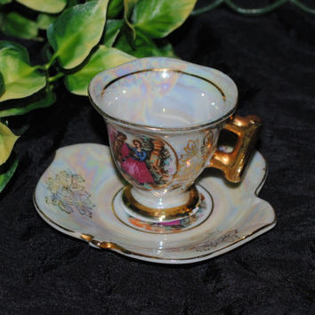 SALE: Vintage Rare Demitasse Teacup and Saucer signed Messen Vienna and Numbered